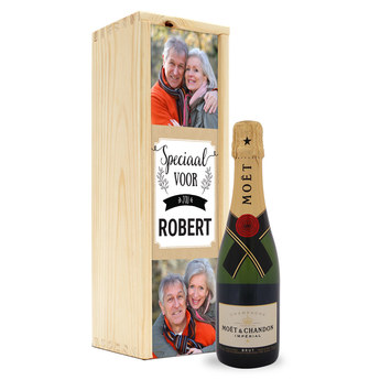 Champagne in bedrukte kist - Moët & Chandon (375ml)