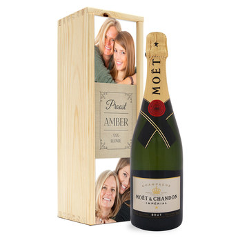 Champagne in bedrukte kist - Moët & Chandon (750ml)