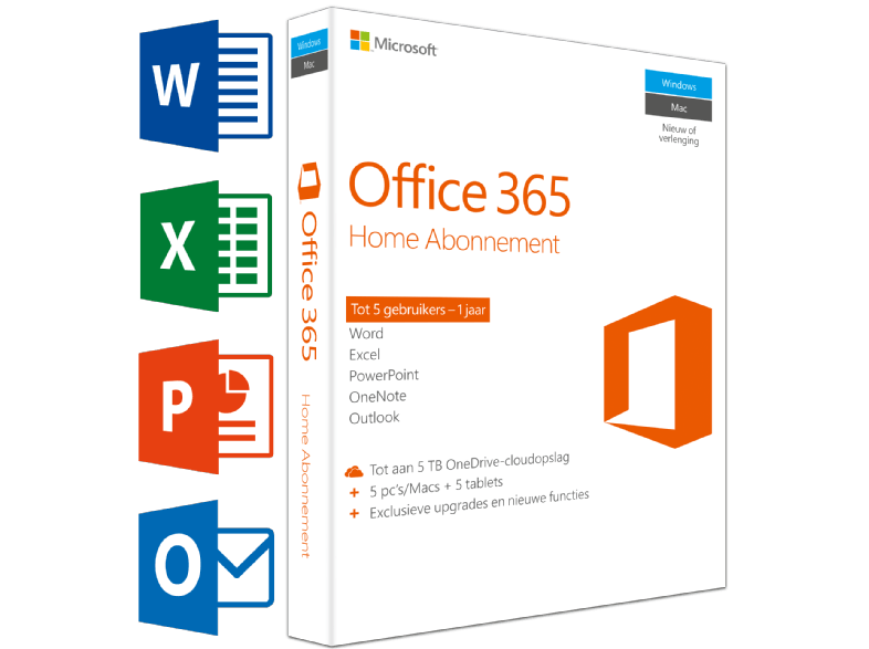 MICROSOFT SW Office 365 Home (NL) | 5 PC's of Mac + 5 tablets + 5 smartphones