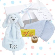 Babygiftbox rabbit richie blue met naam
