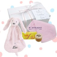 Babygiftbox rabbit richie pink met naam
