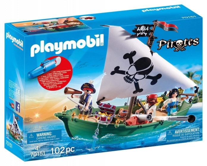 PLAYMOBIL Pirates Piratenschuit met onderwatermotor (70151)
