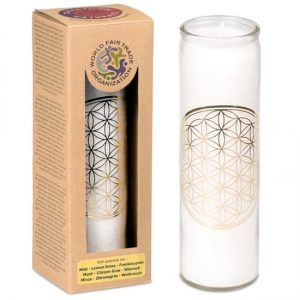Geurkaars Stearine Flower of Life – Wit (100 Branduren)